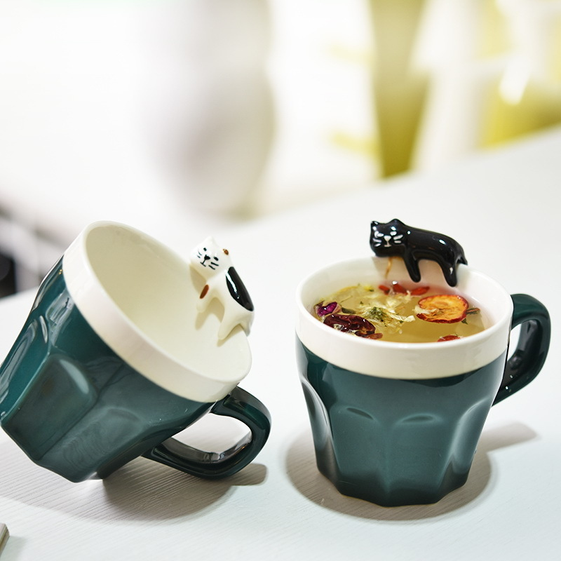 Colorful Fashion Ceramics Mug Cats Wedding Birthday Cartoon Lovers Coffee Cup Creative Three-dimensional Animal Novelty Gifts ...