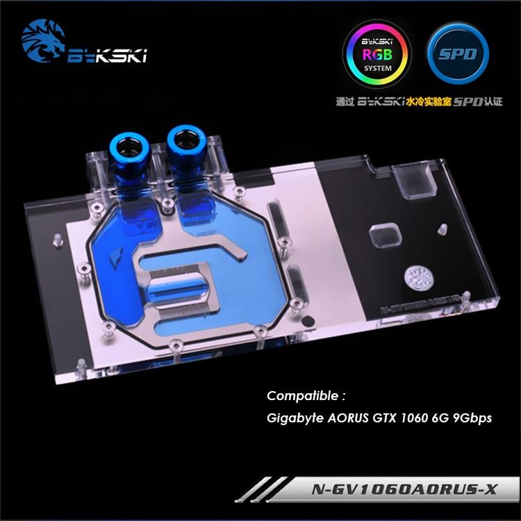 N-GV1060AORUS-X bykski gpu block for Gigabyte AORUS GTX1060 6G 9Gbps water cooling graphics full cooler block rgb/rbw light bykski b vclt rgb rgb led light tape strip for gpu block
