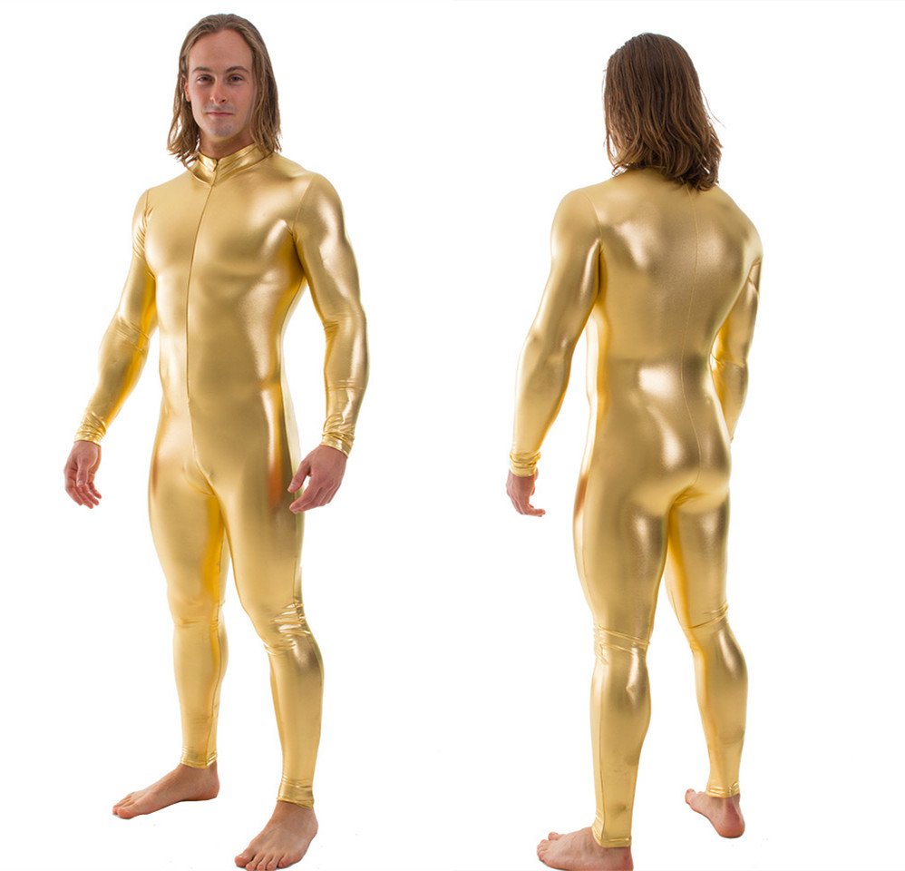 Mens Halloween Cospaly Gold Zentai Suit Metallic Lycra Full Bodysuit Spandex Suit Zip Hoodless Second Skin Tights Catsuit