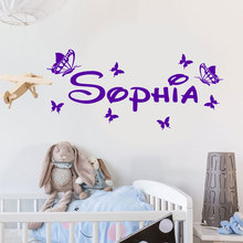 Personalized Girls Name Vinyl Wall Sticker Home Decor Kids Room Butterflies Decals Custom Name Nursery Bedroom Decoration 3N12 цена