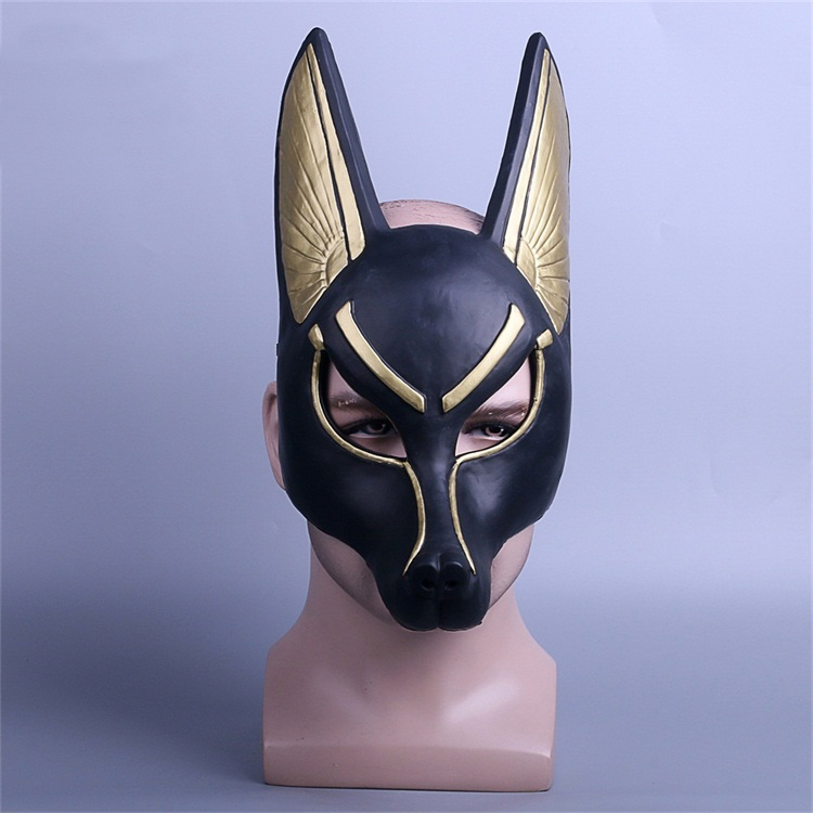 Egyptian Anubis Cosplay Face Mask PVC Canis spp Wolf Head Animal Masquerade Props Party Halloween Fancy Dress Ball стоимость