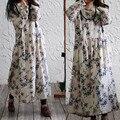 SERENAMENTE 2016 de Primavera y Otoño de Las Mujeres de Impresión de la Vendimia Vestido Largo manga Más El Tamaño Maxi Vestido Largo de Lino de Algodón Sueltos Vestidos S172