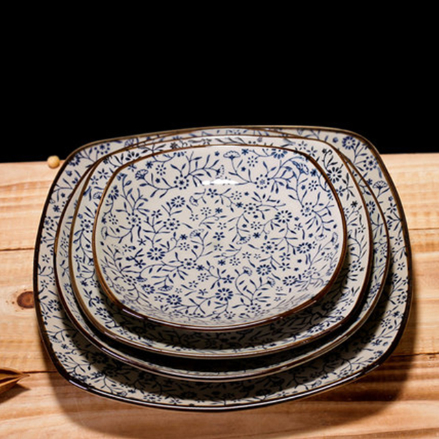 Japanese style ceramic square plate sushi plate creative plant flower series fish dish steak plate tableware : japanese square plates - Pezcame.Com