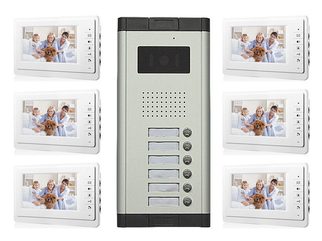 Apartment Wired Video Door Phone Audio Visual Intercom Entry System 6 Unit new apartment 2 unit intercom entry system wired video door phone audio visual