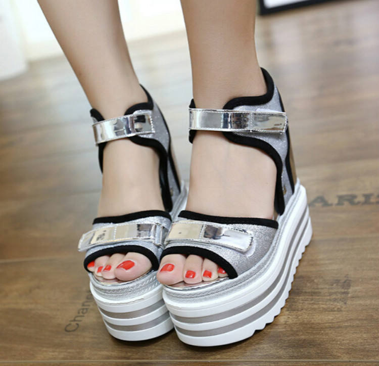 ФОТО 2016 Summer Korean sexy wedge sandals thick crust muffin 14cm super high heels nightclub elevator shoes