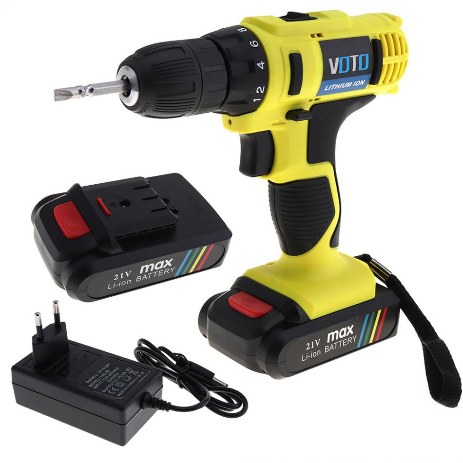 VOTO 21V additional lithium ion Battery Cordless Electric drill hole electrical Screwdriver hand driver Wrench power tools-in Electric Drills from Tools    2