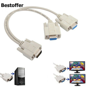 VGA 1 Male to 2 Female 1 PC TO 2 LCD TV MONITOR SVGA Y SPLITTER 2 PORT CABLE VGA LEAD 15 Pin(China)