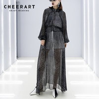 Cheerart Long Maxi Dress Chiffon Black See Through Tunic Dress Star Print Long Sleeve Transparent Dress Women Spring Summer