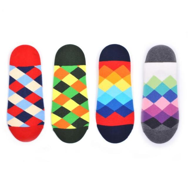 2019 Hot Sale Classic Men's Combed Cotton Diamond Geometric Pattern Ankle Socks Summer New Casual Funny Colorful Dress Socks 2