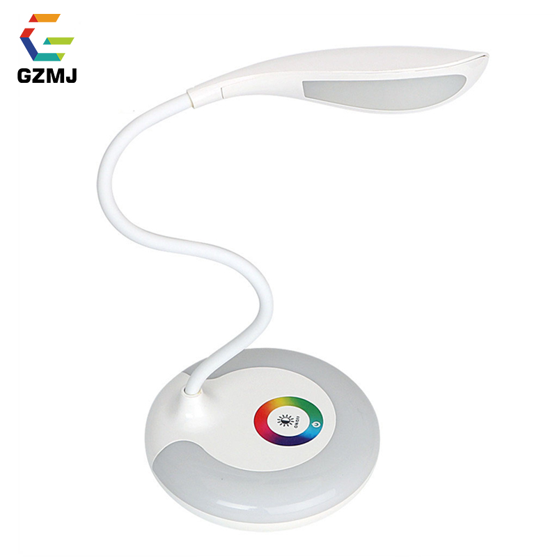 GZMJ Table Lamp Study Bedroom Night Light USB Charging Book Reading Light Rechargeable Touch RGB Base Eye-protection Lamp Lights white rotating rechargeable led talbe lamp usb micro charging eye protection night light dimmerable bedsides luminaria de mesa