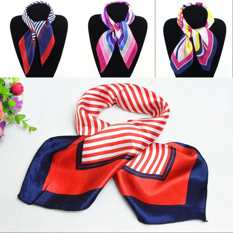 Stripe Printing Tooling Small Towel Sailor Scarf Scarf Shawl Dance Leisure All-match Lady Bank Airline Stewardess Decoration