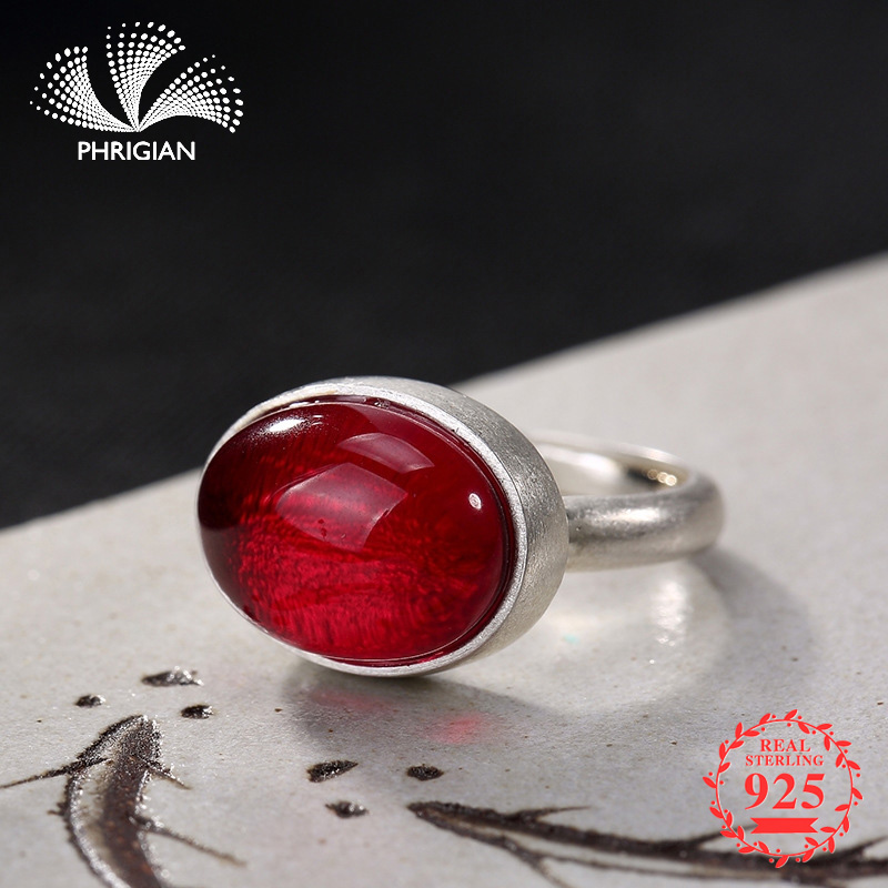 NOT FAKE S925 Fine Jewelry Ring Ruby Sterling Silver Women Handmade Vintage Natural Retro Exquisite strawberry quartz