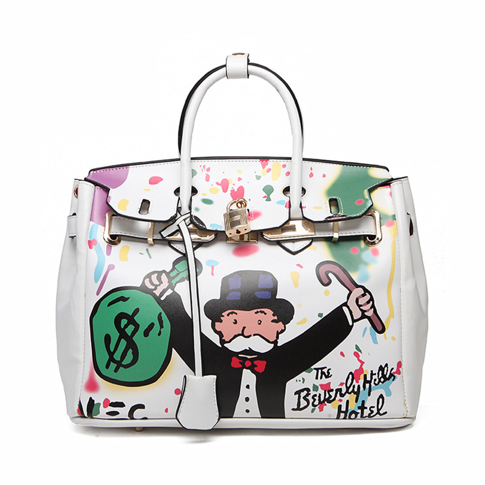 2018European style street graffiti Monopoly Game Cartoon Classic Bag Handbag Pu Leather 30cm Gold Hardware Ladies Handbag Totes graffiti classic boy 14 orange