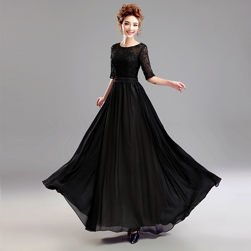z 2016 new arrival stock maternity plus size bridal gown evening dress Black  Lace In Long Sleeved Long 7292-in Evening Dresses from Weddings   Events on  ... d5e201d5ee38