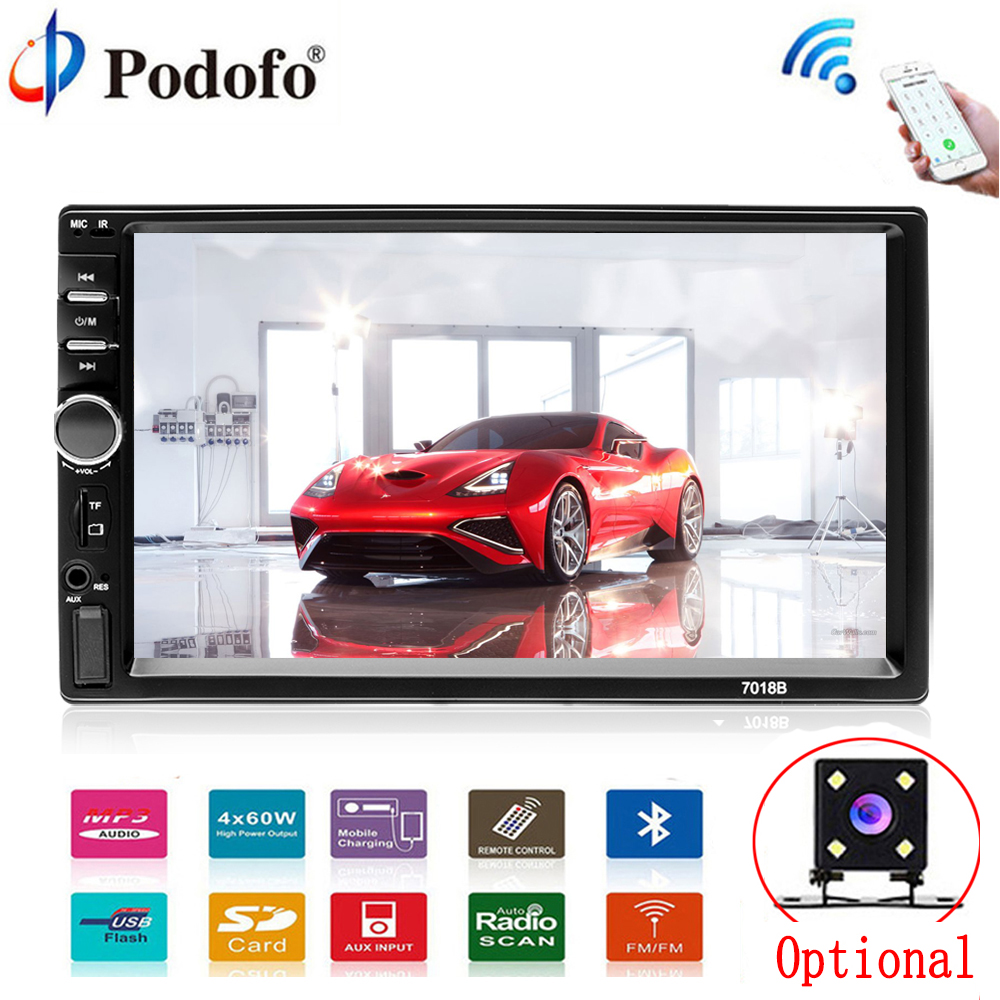 "Podofo Car Multimedia player Autoradio 2Din 7"" HD Car Radio Audio Stereo Touch Screen auto MP5 Player Bluetooth TF USB FM camera(China)"
