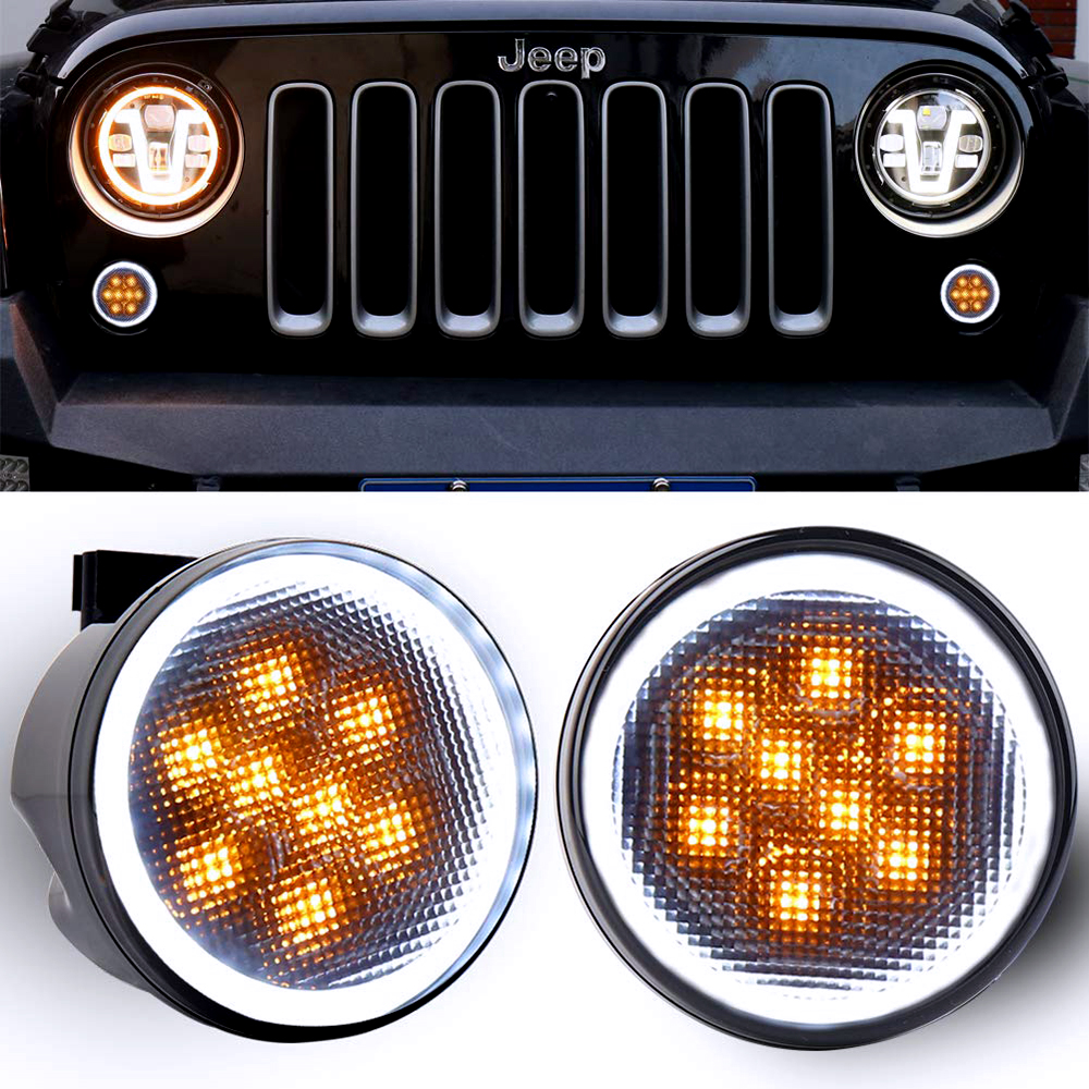 Front LED Turn Signal Light Assembly with White Halo Smoke Lens for 2007 to2011 2012 2013 2014 2015 2016 2017 Jeep Wrangler JK