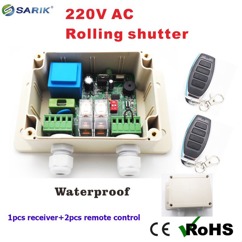 1pcs receiver + 2pcs remote control roller shutter switch 433mhz 220v rolling shutter / rolling blinds plus is 520 rolling stamper guard your id roller