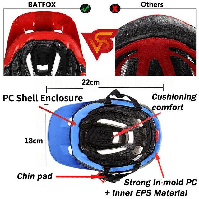 BATFOX Capacete de bicicleta CE MTB, capacetes de ciclismo de montanha e estrada vermelha e com viseira solar unissex ultraleve 4