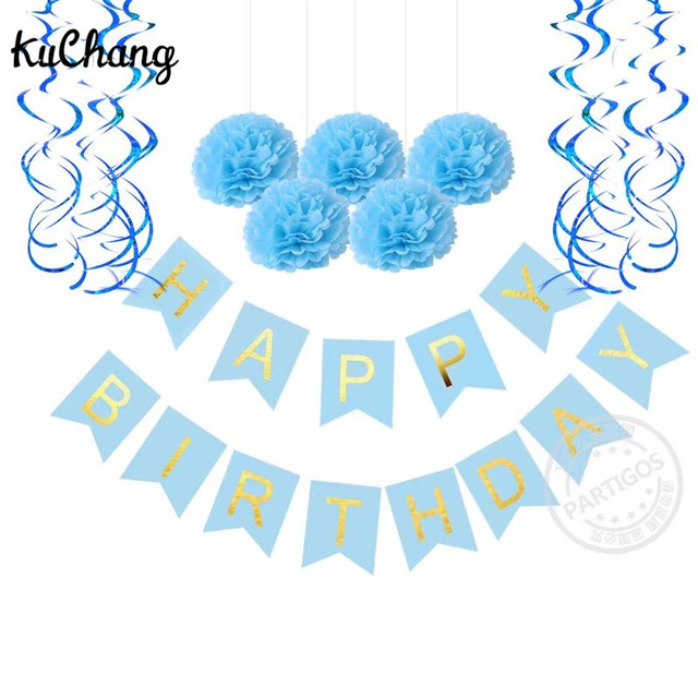 First Birthday Party Paper Decoration Set Happy Birthday Banner - first birthday banner