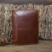 NEWEEKEND 5230 Genuine Leather Oil Cowhide Vertical Lichee Pattern Short Thick Cash Card Coin Wallet Purse
