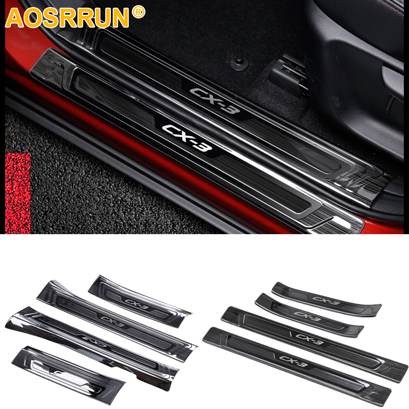 Stainless steel door sill scuff plate Car Accessories For Mazda CX-3 CX3 2016 2017 2018 все цены