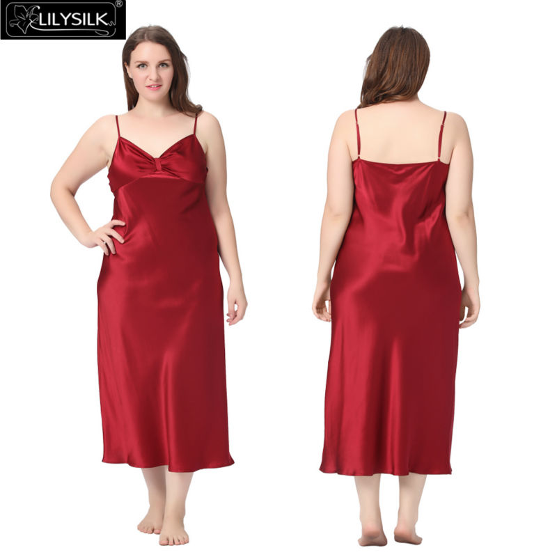 1000-claret-22-momme-gathered-bowknot-neck-silk-nightgown-plus-size-01
