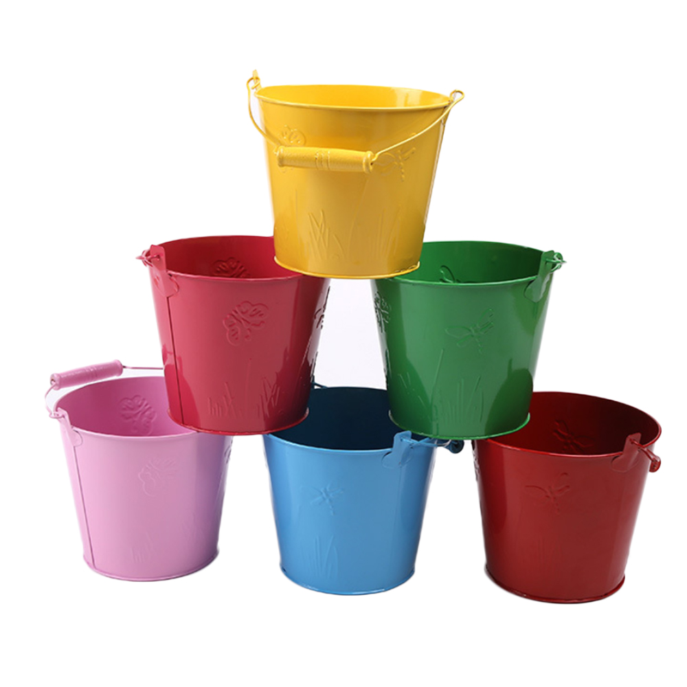 2019 Summer Outdoor Beach Bucket Toys Small Galvanized Iron Barrel Bucket  Gardening Iron Barrel Random Color