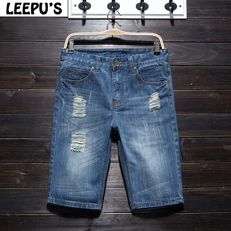 LEEPU S Brand 2017 summer new style men s ripped jeans hole five minutes pants Moustache