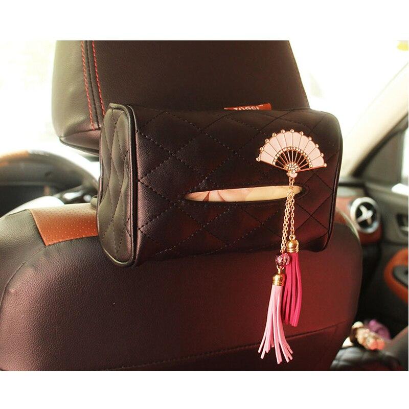 1 PC Car Tissue Bag Japanese Folding Fans Car Seat Back Pump