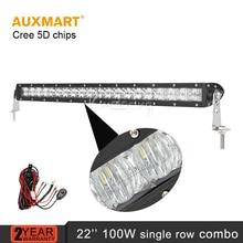 Auxmart 5D LLEVÓ barra de luz 22 pulgadas 100 W Sola Fila Recta de trabajo haz combo offroad luz para camión tractor SUV ATV 4X4 4WD 12 V 24