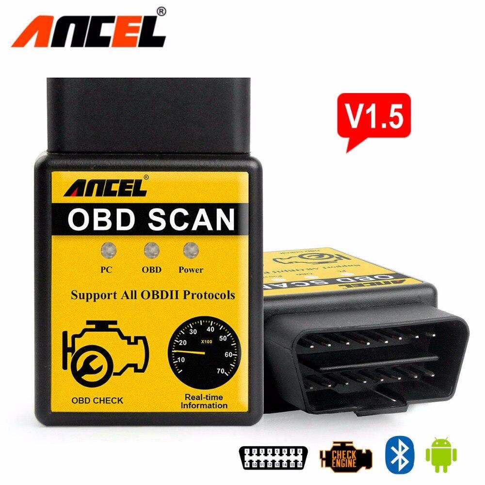Prix pour ELM327 Auto Scanner ELM 327 Bluetooth OBD2 pour Android Couple OBDII Voiture V1.5 Véhicule Scan Outil De Diagnostic FHOBD2