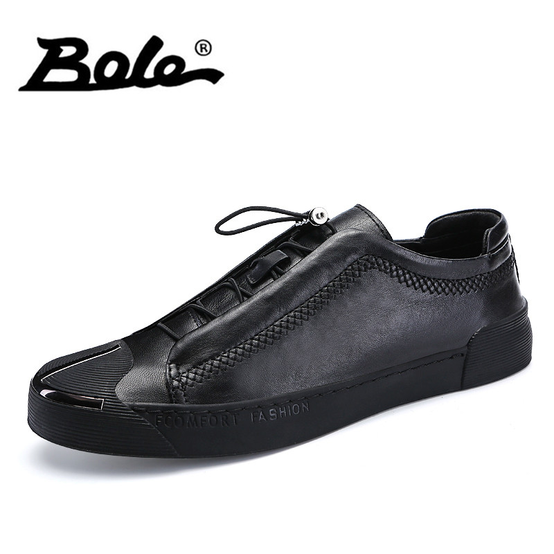 BOLE Spring Autumn Leather Sneakers Men Elastic Band Flat Shoes Breathable Rubber Sole Non-slip Casual Shoes Men Sneakers business men tie shallow mouth brown leather casual rivet shoes men s shoes round youth non slip rubber sole
