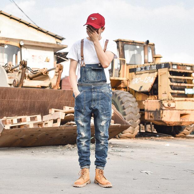 2019 nouveau mode hommes décontracté Slim-fit denim salopette hommes fermeture éclair décoratif bretelles salopette M--XXL de marée