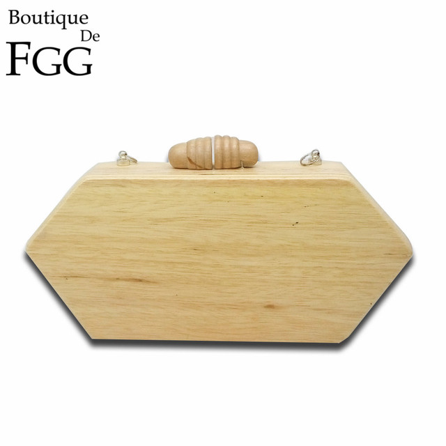 Women Famous Brand Natural Wood Evening Clutch Bag Ladies Wedding Party Prom Hard Case Wooden Box Chains Shoulder Handbag Bags