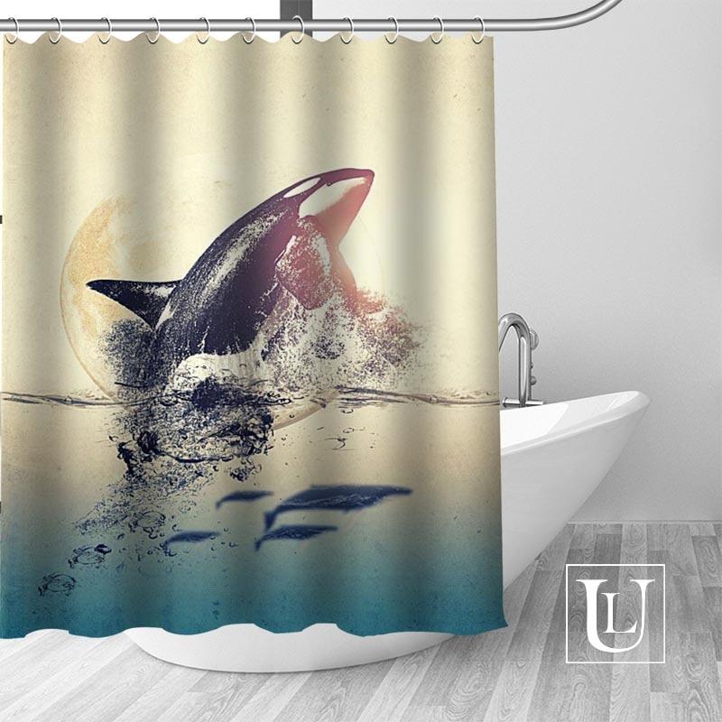 Splash Watercolor Hungry Shark Shower Curtain Hooks Bathroom Waterproof Fabric