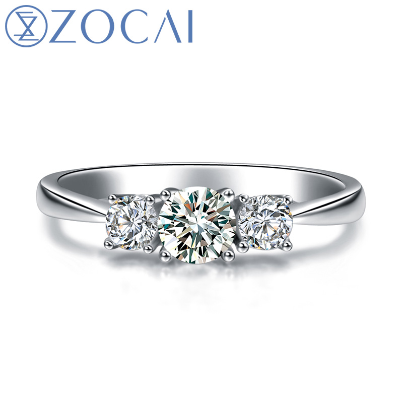 ZOCAI 3 stone diamond Ring 0.50 ct F-G / SI certified diamond engagement ring 18K white gold diamond ring W06054 cannondale f si carbon 3 29 2016