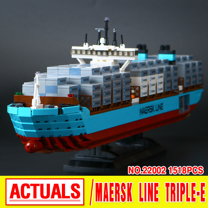 New Lepin 22002 Genuine Technic Series The Maersk Cargo Container Ship Set 10241 Building Blocks Bricks Educational Boy Toys lepin 22002 1518pcs the maersk cargo container ship set educational building blocks bricks model toys compatible legoed 10241