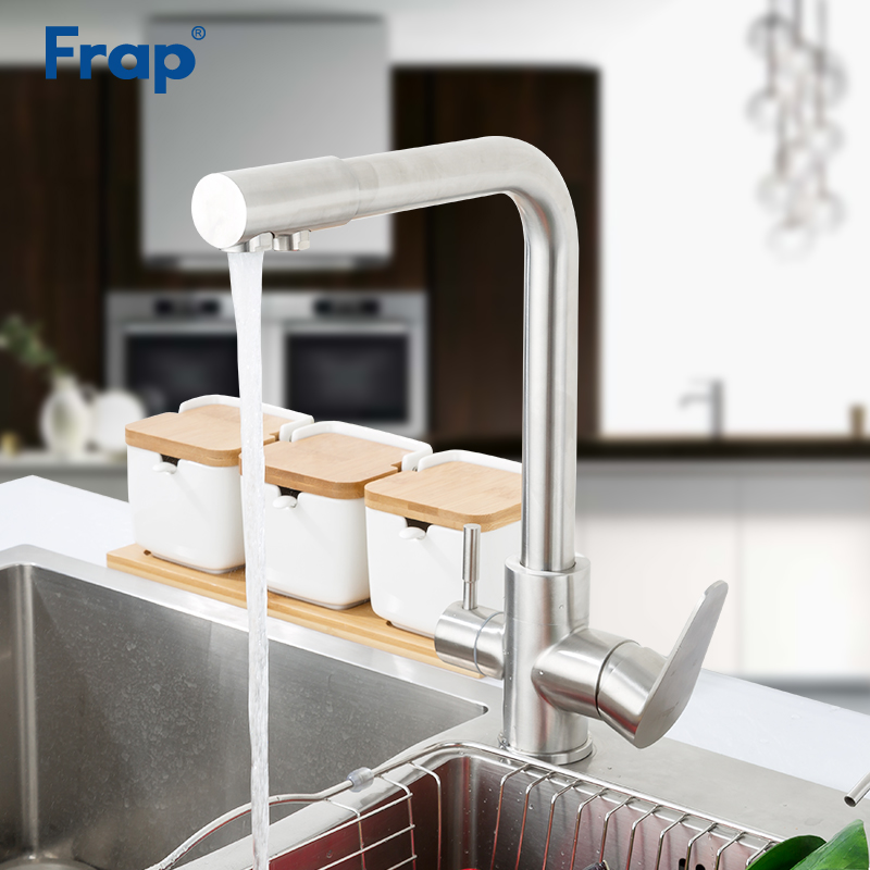 Robinets de cuisine FRAP avec eau potable filtrée robinet d'évier de cuisine en acier inoxydable