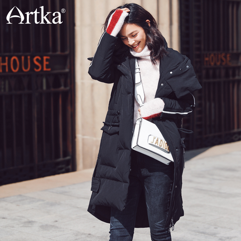 ARTKA 2018 New City Series Autumn&Winter Sporty Casual 80% White Duck Long   Down     Coat   Parka JY17006