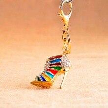 1 Pcs Novelty High Heel Shoes Keychains Rhinestone Shoe Keyring Charm Women Handbag Key Holder Girl Bag Pendant Jewelry