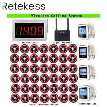RETEKESS Беспроводная система вызова пейджер с 1 шт. хост приемника + 4 шт. часы приемник + 1 шт. повторитель сигнала + 42 шт. кнопка вызова