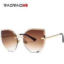 TAOTAOQI Luxury Cat Eye Sunglasses Women Fashion Designer Brand Sun Glasses Female Frameless Vintage Shades Eyewear UV400