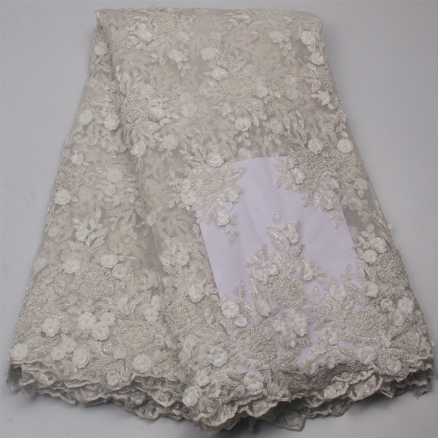 African French Lace Fabric High Quality Chiffon 3 D Tulle Wedding White Design Embroidery