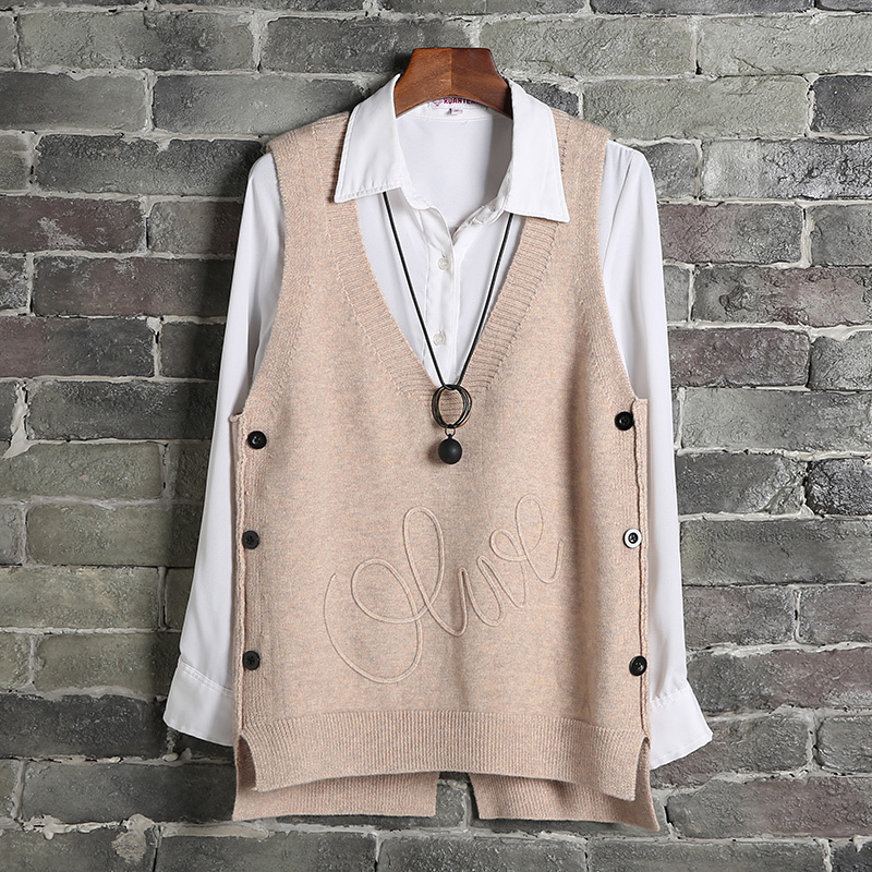 #1202 Spring Vest Waistcoat Women Side Buttons Casual Knitted Sweater Vest Sleeveless Female Short Sleeveless Pullover Plus Size