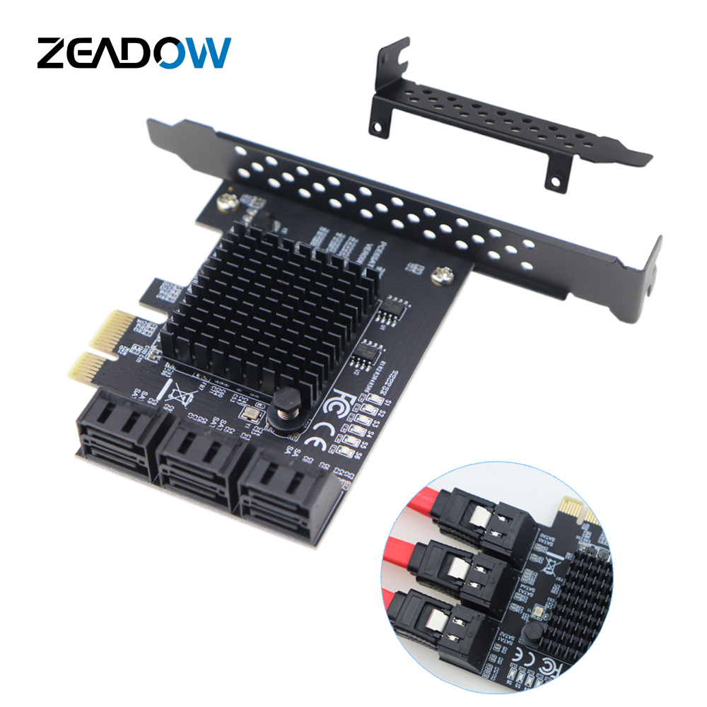 <font><b>PCIe</b></font> 2.0 x1 <font><b>to</b></font> SATA III 6 Ports <font><b>Adapter</b></font> Card Marvell Chipset Non-Raid For IPFS Hard Drive Mining and Adding SATA 3.0 Devices image