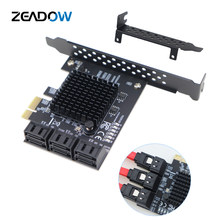 Адаптер PCIe 2,0x1 на SATA III, 6 портов, карта памяти, чипсет Marvel, не работает с Raid, подходит для майнинга и установки устройств SATA 3,0
