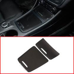 Углерода ABS центр хранения коробка Панель отделкой пепельница покрытие наклейки для автомобилей Mercedes-Benz CLA GLA класс W117 W176 a180 2014-2017