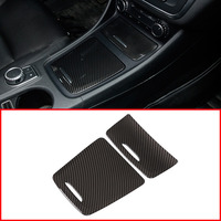 Carbon ABS Center Storage Box Panel Trim Ashtray Cover Car Stickers For Mercedes Benz CLA GLA A Class W117 W176 A180 2014 2017