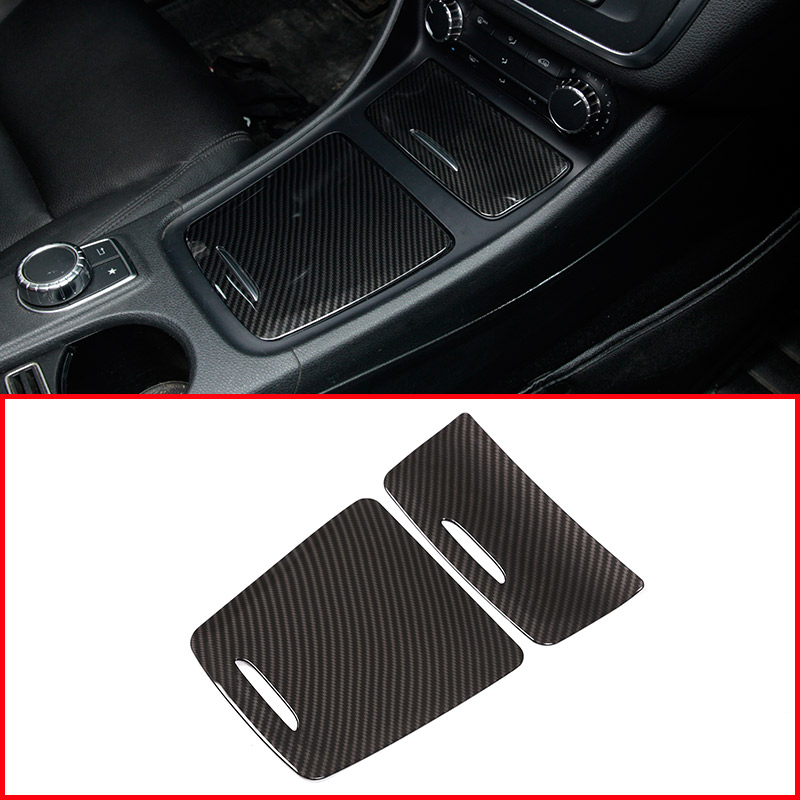 Carbon ABS Center Storage font b Box b font Panel Trim Ashtray Cover Car Stickers For