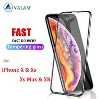 VALAM-vidrio templado 9H para iPhone, protector de pantalla de vidrio 9D para iPhone xs max xr, X Xs Max XR